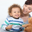 Stock Photo: Mother son and teddy