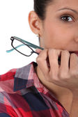 Closeup of a woman with glasses — Stock Photo
