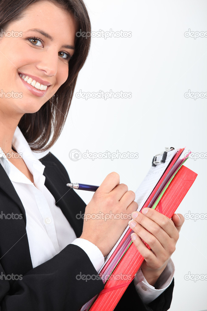 Woman writing — Stock Photo #16305049