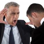 Boss shouting at useless employee — Stock Photo