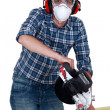 Carpenter with circular saw. — Stockfoto #16333053