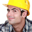 Stock Photo: Craftsman making a funny face