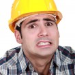 Portrait of scared laborer — Stock Photo