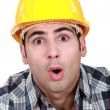 An astonished tradesman - Stock Photo