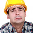 Workman making grimace — Stock Photo
