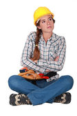 Annoyed female builder — Stock Photo