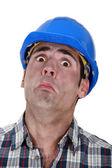 A fearful construction worker — Stock Photo