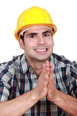 Builder hoping everything goes as planned — Stock Photo