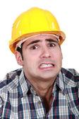 Portrét strach dělník — Stock fotografie