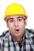 An astonished tradesman — Stock Photo