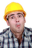 Craftsman making a funny face — Stock Photo