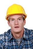Shocked laborer — Stock Photo