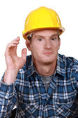 Dumbfounded construction worker — Stock Photo