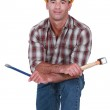 Man with hammer and chisel — Stock Photo #16345943