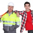 Construction worker and a student — Foto Stock