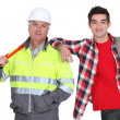 Construction worker and a student — Stock Photo