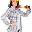 Woman with spirit-level — Stock Photo