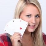 meisje weergegeven: kaarten — Stockfoto