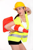 Sexy woman with traffic cones — Stock Photo