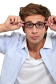 Bleary eyed man in glasses — Stock Photo