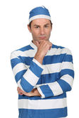 Man in prison Fancy Dress Costume — Stock Photo
