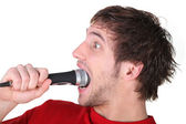 Man swallowing a microphone — Stock Photo