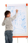 Talented little boy drawing — Stock Photo