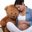 Pregnant woman sat with large teddy bear - Stock Photo