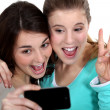 Two girls taking picture of themselves — Stock Photo #16410231