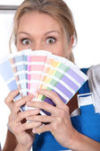 Painter with color samples — Stock Photo