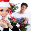 Foto de Stock  : Couple celebrating Christmas.