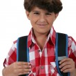 Schoolboy with satchel - Stock Photo