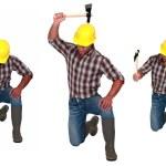 Man hitting the floor with hatchet — Stock Photo #16468581