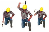 Man hitting the floor with hatchet — Stock Photo