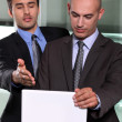 Associates discussing their business plan — Stock Photo