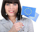 Women with two paper flags — Stock Photo