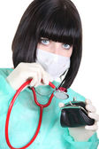 A surgeon ausculating a purse — Stock Photo