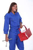 Black female mechanician — Stock Photo