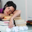 Woman sleeping on her books — Stock Photo