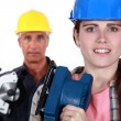 Father daughter ready to renovate house - Stock Photo