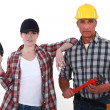 Father and daughter DIY team — Stock Photo