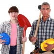 Two generations of builders — Stock Photo #16493619