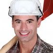 Stock Photo: Happy worker with spade