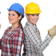 Stock Photo: Tradeswomen holding tools