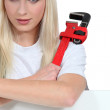 Stock Photo: Woman with an adjustable spanner