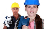 Father daughter ready to renovate house — Stock Photo