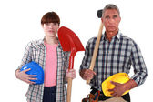 Two generations of builders — Stock Photo