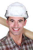Closeup of a man in a hardhat — Stock Photo