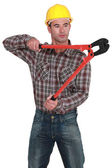 Man using bolt-cutters — Stock Photo