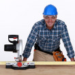Foto Stock: Mwith circular saw